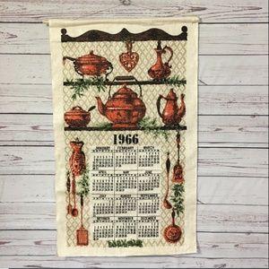 Vintage 1966 Cloth Linen CALENDAR TOWEL Wall